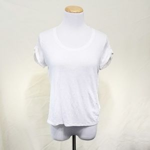 Joie plain white linen tee short sleeve crop fit M